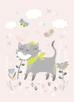 A beautiful illustration of a contented cat smelling the flowers, surrounded by butterflies & clouds. Illustrated by Flora Waycott printed on 250 gram FSC biotop environmentally friendly ink size - x A4 Poster, Photo Chat, Kids Prints, Cat Drawing, Cute Characters, Illustrations And Posters, Cute Illustration, Nursery Art, Cat Art