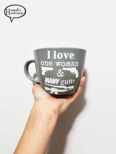 I Love One Man/Woman and Many Guns-- Gun Lover Gift- Gift for Him- Concealed Carry Gift- Coffee Cup- Husband Gift- Wife Coffee Cup by HannahsHankerings on Etsy