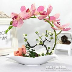 orchid flower arrangements on sale at reasonable prices, buy High simulation artificial orchid flowers arrangements decorative latex silicone fake pots flores artificiais arranjos orquideas from mobile site on Aliexpress Now!