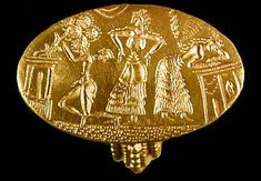 """Gold signet ring from the """"Tiryns Treasure"""" of Mycenae. Dated to the 15th century B.C."""
