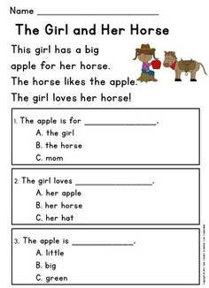 Kindergarten Reading Comprehension Passages with Multiple