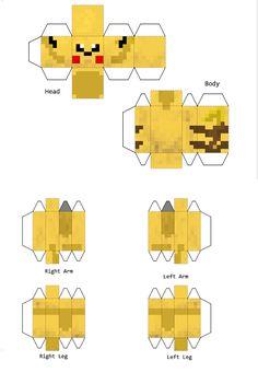 Papercraft pokemon pikachu Minecraft Pokémon, Papercraft Minecraft Skin, Minecraft Templates, Minecraft Beads, Papercraft Pokemon, Minecraft Images, Minecraft Tutorial, Minecraft Crafts, Minecraft Skins
