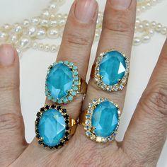 Petrol Blue RingTeal Blue Adjustable Bridal Ring Swarovski