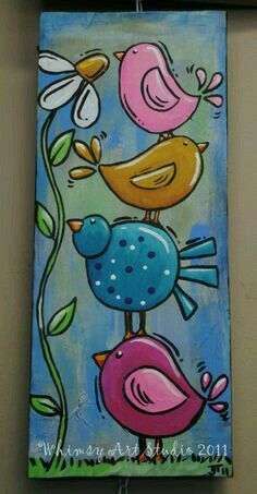 whimsical birds art Products is part of - painting a grow in love piece with hearts and birds for kids church this is similar idea Tole Painting, Painting & Drawing, Painting Canvas, Heart Painting, Watercolor Painting, Spring Painting, Pallet Painting, Pallet Art, Watercolor Background