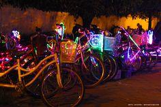 Bicycles with neon lights. Rented on Alun-Alun Yogya.