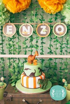 Orange and Green Dinosaur Birthday Party with Such Darling Ideas via Kara's Party Ideas KarasPartyId Dinosaur Birthday Party, 4th Birthday Parties, Boy Birthday, Birthday Ideas, Dinasour Birthday Cake, Dinasour Cake, Elmo Party, Fourth Birthday, Mickey Party