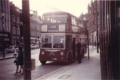 Reading Corporation Transport Trolleybus. 182. VRD 182. Service 17   Seen here in Broad Street in August 1968.It is about to head east to Wokingham Road.   182 is a Sunbeam F4A with Burlingham H38/30F bodywork.   It entered service on the 18 June 1961 and became the last public service   trolleybus to operate in Reading on 3 November 1968 when the system closed.