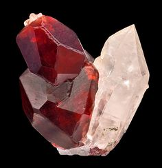 Spessartine Garnet on Quartz;, Gilgit-Baltistan, Northern Areas of Pakistan Minerals And Gemstones, Rocks And Minerals, Cool Rocks, Mineral Stone, Rocks And Gems, Crystal Healing, Quartz Crystal, Stones And Crystals, Gilgit Baltistan