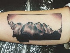 The Spanish Peaks in the Madison Range, southwest of Bozeman, Montana. Done by Seth White at Black Sparrow Tattoo in Billings, Montana.