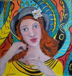 Suzanne Smeets Ragazza con capelli rosi Olio acrilico su legno 40x50