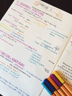 lovehatestudying: Math isn't my strong suit so colorful fun notes are a necessity for this class ☀️