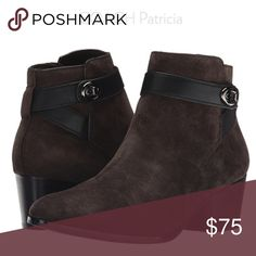 """Coach Patricia Brown Suede Wrap Bootie Size 6.5 The Patricia boot is ready to get fancy this season! Brown suede upper with a side-zip closure. Decorative strap and hardware at ankle. Soft leather lining and footbed. Stacked 2"""" heel. Condition is excellent preowned. No flaws, problems or issues.   Ships quickly from a smoke-free home! Coach Shoes Ankle Boots & Booties"""