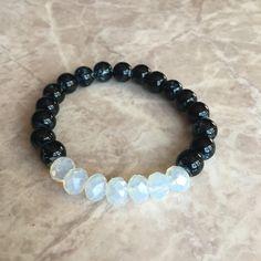 Transparent opal black beaded bracelet handmade by CraftsbylizzyCo