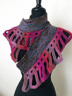 love the quiet drama of my DropStitch Openwork™ edging in this easy to wear wrapper. Simliar to my Dragon Tale Shawl my Radiance Wrapper has no shaping in the main part and the fringe is calculated and worked in a heavier gauge yarn.