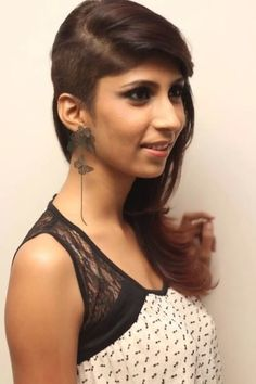 undercut haircut with feather ends