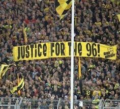 Support from Borussia Dortmund fans for Liverpool fc #hillsborough disaster