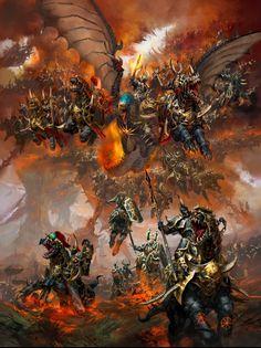 Archaon the Everchosen and the Chaos Varanguard
