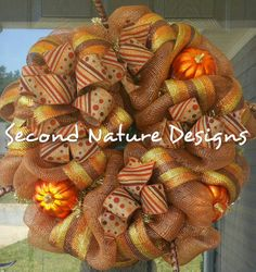 RTS! Deluxe Deco Mesh Wreath for Fall, Halloween, and Thanksgiving