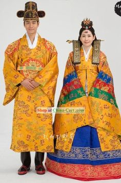 Traditional Korean Wedding Hanbok for Bride and Bridegroom