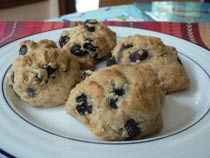 Low fat blueberry scones. Substituted butter for 2 tbsp avocado, cranberries for blueberries, added cinnamon and nutmeg and added more flour.