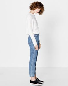 Pull&Bear - mujer - ropa - jeans - jeans mom fit - azul - 05689309-I2016