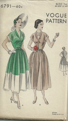Vintage 1940s Vogue 6791 sewing pattern - 40s dress pattern Size 14 Bust 32