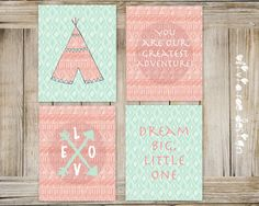 Tribal Aztec Theme Nursery Art Wall Decor Coral and Mint baby girl INSTANT DOWNLOAD set of 4 8x10 jpg by OliviaRaeDesign on Etsy https://www.etsy.com/listing/241003876/tribal-aztec-theme-nursery-art-wall