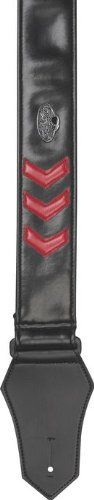 """Get'm Get'm Sergeant Stripes Guitar Strap Red by Get'm Get'm. $45.60. The Get'm Get'm Sergeant Stripes Guitar Strap is a 2"""" wide vinyl strap that extends up to 80"""" in length, and features leather articulated tips. The military-style stripes add just the right touch of color. All straps are made in the USA, sport heavy-duty metal hardware, and as an extra bonus, Get'm Get'm donates a portion of the proceeds from its strap sales toward the rescuing of cats and do..."""