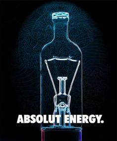 Absolut Energy (B) - Creator´s name unknown Absolut Vodka, Clever Advertising, Advertising Poster, Advertising Design, Arte Dope, Cnc Cutting Design, Guerilla Marketing, Marketing Ideas, Best Ads