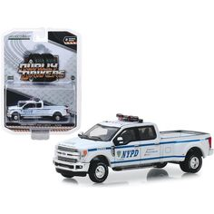 """Brand new scale diecast car model of 2019 Ford Lariat Pickup Truck """"New York City Police Dept"""" (NYPD) """"Dually Drivers"""" Series 2 die cast model car New Trucks, Custom Trucks, Ford Trucks, Jeep Pickup, Pickup Trucks, Pickup Camper, Matchbox Cars, Ford Expedition, 2019 Ford"""