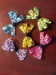 "Girls~ Simply Cute Set of 5 Animal Cheetah Leopard Print 3 "" Hair Bow Clips #Handmade"