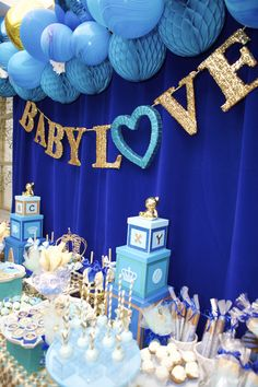 Baby Shower Sweets Table Backdrop Made Of Glittered Banner Sign, Honeycomb  Balls, Balloon, Velvet Backdrop, And Tons Of Desserts!