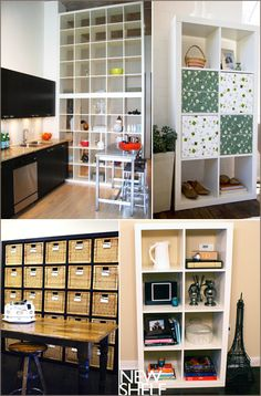 expedit ikea; love how the big ones are stacked to form a room divider but you'd need a ladder to use all the storage