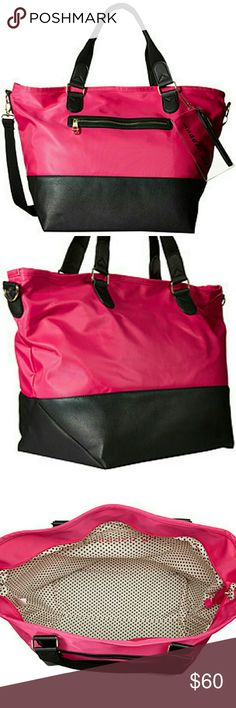 """Madden Girl Gym Weekender Women's Bag Tote Workout ✔You'll be ready for your next adventure with the Madden Girl® Mgcori Nylon Weekender.  ✔Nylon bag features faux leather trim.  ✔Top zip closure.  ✔Dual carry handles 9"""" long along with a removable, adjustable crossbody strap, 35.5"""" long when fully extended.  ✔Additional clear coin purse with top zip closure. Exterior features zip pocket at front, and polished hardware. Flat base. Lined interior flaunts back wall zip pocket.  ✔Measurements…"""