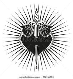 Heart and Roses. Heart, roses and dagger in tattoo style - stock vector