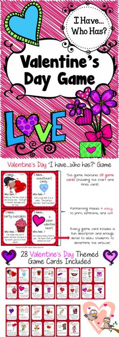 FREEEEBIE ALERT - Valentine's Day I Have Who Has? Game with 28 game cards!