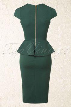 Vintage Chic Racing Green Peplum Pencil Dress 100 40 16415 20150908 0009W