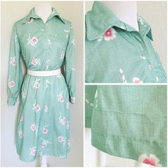 """*vintage* beautiful l/s dress beautiful light turquoise green long sleeve dress with floral detail (resewing done along bottom hem, not noticable while wearing). Brand: Debbi Brooks. Size: unknown (tag faded) (B:20.5"""" W:18.5"""" H:24"""" L:40"""" N:8.5"""" A:7"""" C:3.5"""") - #DRESS7.2 Vintage Dresses"""