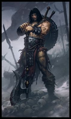 Conan the Destroyer Picture fantasy, warrior, barbarian, big axe) Dark Fantasy, Fantasy Anime, Medieval Fantasy, Sci Fi Fantasy, Fantasy World, Fantasy Warrior, Twilight Princess, Comic Book Characters, Fantasy Characters