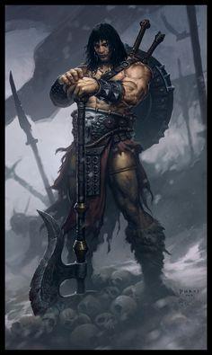 Conan the Destroyer Picture fantasy, warrior, barbarian, big axe) Fantasy Anime, 3d Fantasy, Fantasy Warrior, Medieval Fantasy, Fantasy Artwork, Dark Fantasy, Male Character, Character Concept, Concept Art