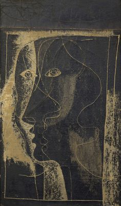 Study for Heads, 1933, by Ben Nicholson (1894–1982). Oil on canvas backed on board, 59.7 x 34.3 cm | Falmouth Art Gallery, England
