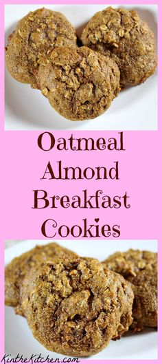 These healthy whole wheat oatmeal almond cookies are great for breakfast or snacking!