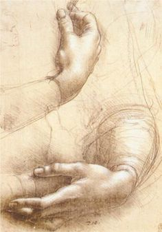 Leonardo da Vinci - hands, silverpoint drawing with white chalk accents. Michelangelo, Italian Renaissance Art, Renaissance Kunst, High Renaissance, Life Drawing, Figure Drawing, Painting & Drawing, Basic Drawing, Drawing Skills