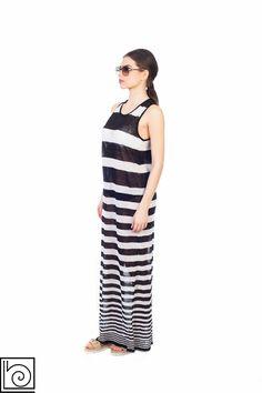 Трикотажное льняное платье в черно-белую полоску. Длинное. Vicolo Northland. Италия.