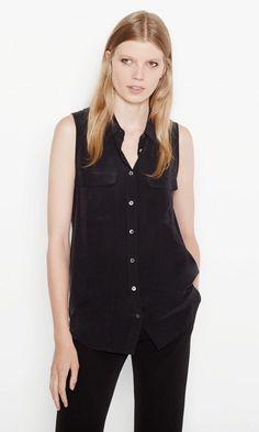 $188 NWT Equipment Silk Slim Signature Sleeveless True Black Blouse Sz L ~Cute! https://qdiz.com/?p=3215