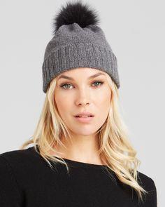 Bettina Fox Fur Pom-Pom Cashmere Slouchy Hat | Bloomingdale's