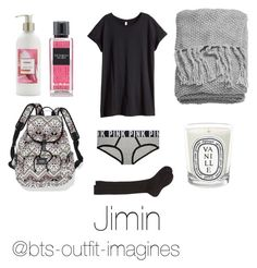 """""""Sleepover with Jimin"""" by bts-outfit-imagines on Polyvore featuring Victoria's Secret, H&M, Maria La Rosa, Diptyque, Sonoma life + style, women's clothing, women, female, woman and misses"""