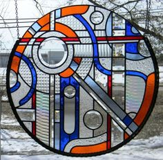 Round Abstract Stained Glass Window by OriskanyGlass on Etsy, $425.00