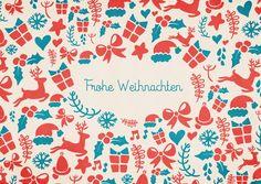 Rot-Blaue frohe Weihnachten | Frohe Weihnachten | Echte Postkarten online…