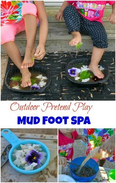 Outdoor pretend play and nature activities for kids. Play with dirt, mud, sand, leaves, flowers and water. Create a mud and sand foot spa.mud I'm crazy but the kids will enjoy it! Nature Activities, Outdoor Activities For Kids, Outdoor Learning, Outdoor Games, Sensory Activities, Outdoor Play, Summer Activities, Nursery Activities, Infant Activities